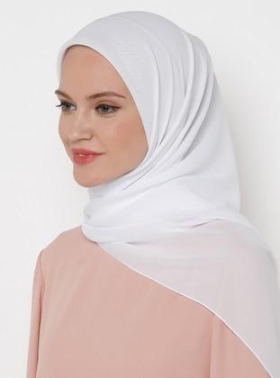 White - Plain - Chiffon - Scarf