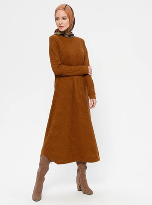 Mustard - Polo neck - Unlined - Dress