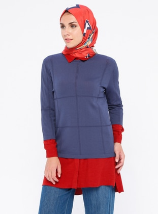 Indigo - Red - Unlined - Nylon - Viscose - Suit