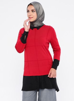 Red - Black - Unlined - Nylon - Viscose - Suit