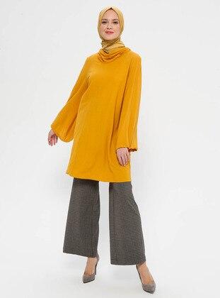 Brown - Checkered - Viscose - Pants