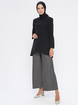 Black - Viscose - Pants