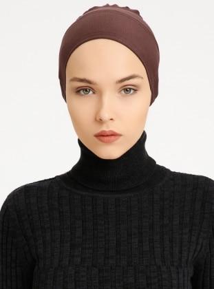 Combed Cotton - Lace up - Non-slip undercap - Brown - Bonnet - Bone