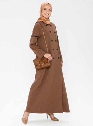 Terra Cotta - Checkered - Fully Lined - Crew neck - Viscose - Topcoat