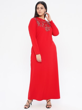 Red - Unlined - Crew neck -  - Plus Size Dress