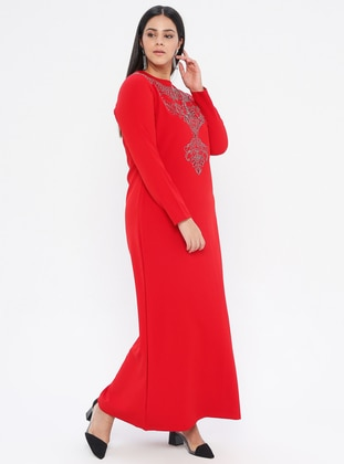 Red - Red - Unlined - Crew neck -  - Plus Size Dress