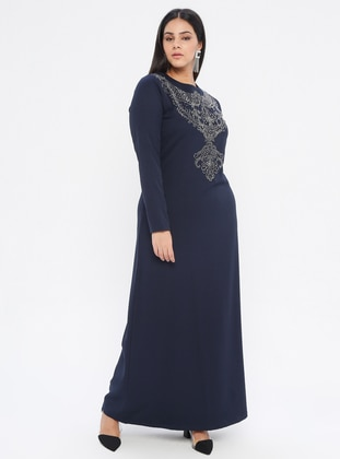 Navy Blue - Navy Blue - Unlined - Crew neck -  - Plus Size Dress
