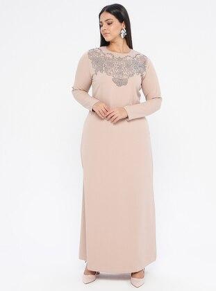 Stone - Unlined - Crew neck -  - Plus Size Dress