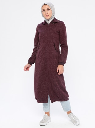 Plum - Fully Lined - Crew neck - Linen - Topcoat