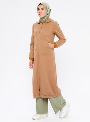 Mustard - Fully Lined - Crew neck - Linen - Topcoat