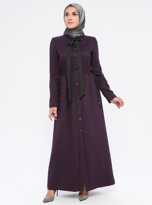 Purple - Fully Lined - Crew neck - Viscose - Topcoat
