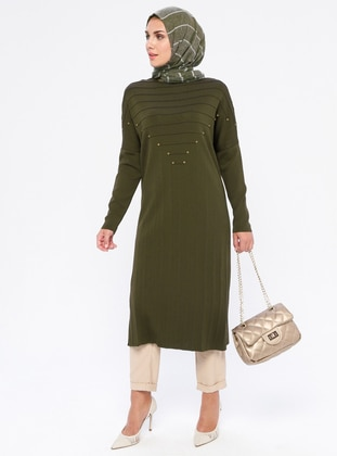 Khaki - Crew neck - Nylon -  - Viscose - Tunic