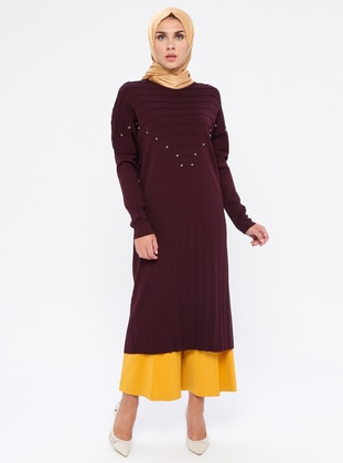 Plum - Crew neck - Nylon -  - Viscose - Tunic