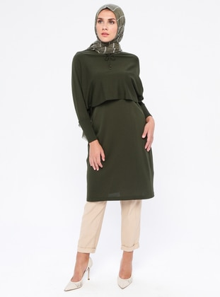 Khaki - Crew neck - Nylon - Viscose - Tunic