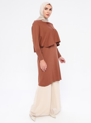 Brown - Crew neck - Nylon - Viscose - Tunic