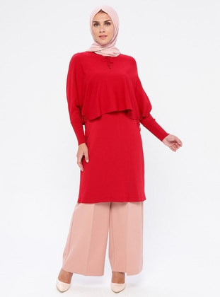Red - Crew neck - Nylon - Viscose - Tunic