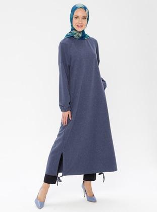 Indigo - Button Collar - Unlined - Linen - Dress