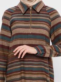 Brown - Petrol - Stripe - Point Collar - Acrylic - Viscose - Tunic