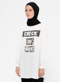 White - Ecru - Crew neck - Tunic
