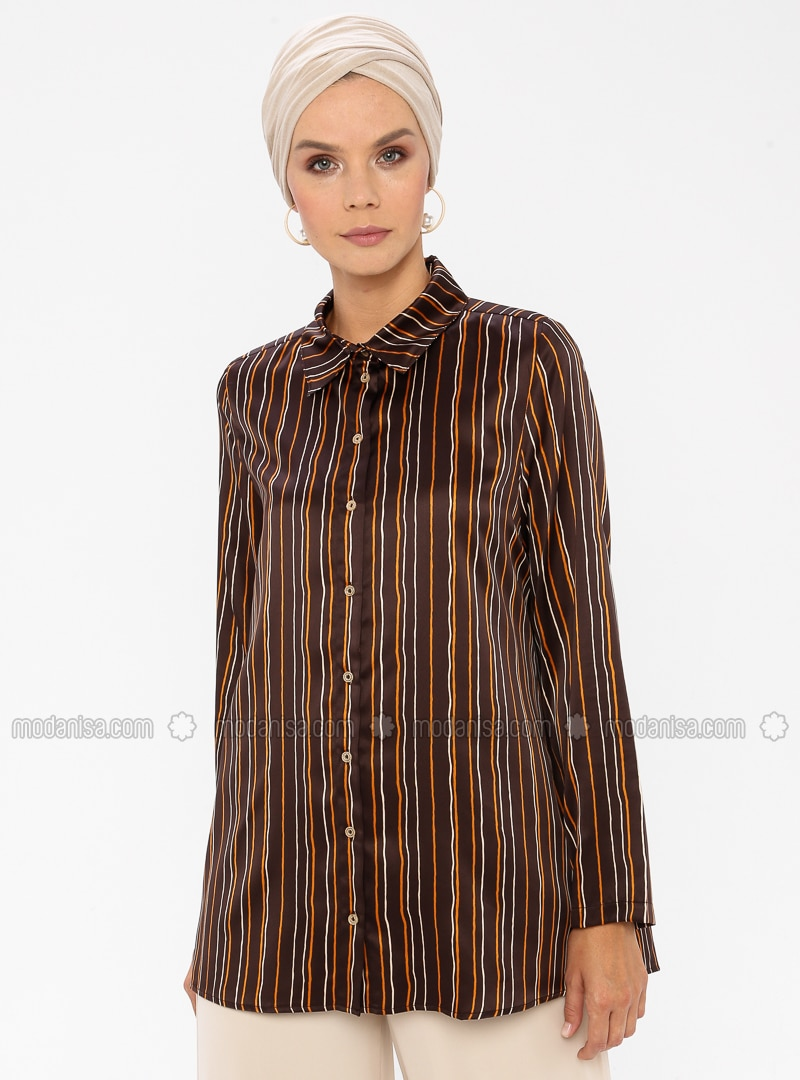 Brown - Stripe - Point Collar - Blouses