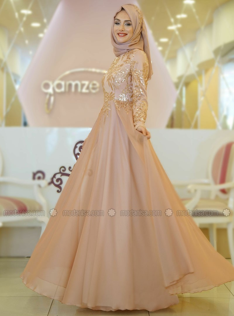 Gold - Crew neck - Fully Lined - Muslim Evening Dress