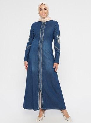 Navy Blue - Ethnic - Unlined - Crew neck - Denim - Abaya
