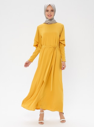 Yellow - Crew neck - Fully Lined - Rayon - Dress
