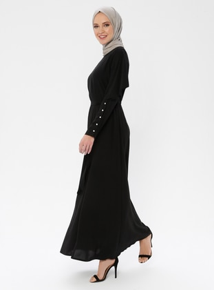 Black - Crew neck - Fully Lined - Rayon - Dress