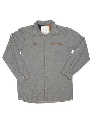 Point Collar -  - Unlined - Gray - Boys` Shirt
