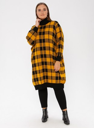 Mustard - Black - Checkered - Crew neck - Acrylic - Plus Size Jumper