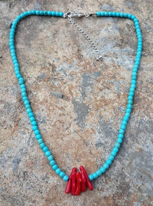 Coral - Turquoise - Necklace