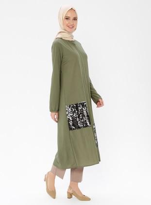 Khaki - Unlined - Crew neck - Rayon - Topcoat