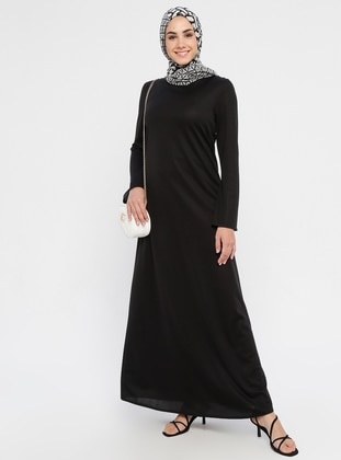 Black - Crew neck - Unlined - Dress