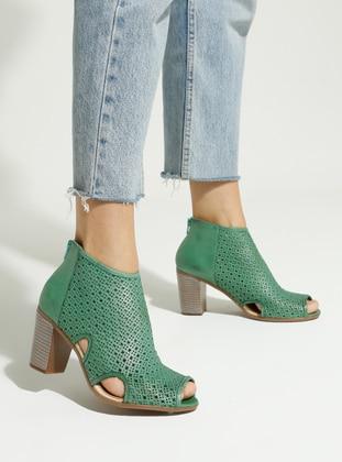 Green - Emerald - Casual - Sandal - High Heel - Heels