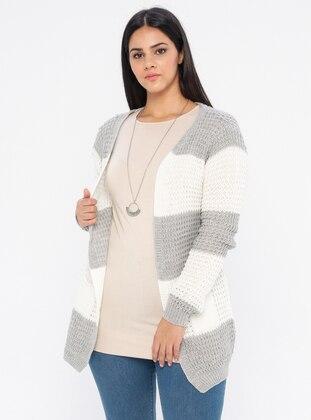 Gray - Acrylic -  - Plus Size Cardigan