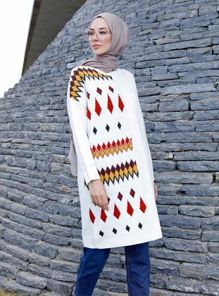 Cream - Geometric - Crew neck -  -  - Tunic