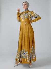Hardal - Çiçekli - Yuvarlak yakalı - Astarsız kumaş - Viskon - Elbise