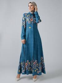 Benzin - Çiçekli - Yuvarlak yakalı - Astarsız kumaş - Viskon - Elbise