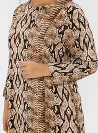 Brown - Multi - Unlined - Crew neck - Viscose - Plus Size Dress