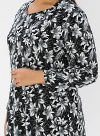 Black - Multi - Unlined - Crew neck - Viscose - Plus Size Dress