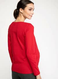 Red - Maternity Blouses Shirts