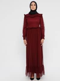 Kiraz Kırmızısı - Yuvarlak yakalı - Kısmen astarlı kumaş - Elbise