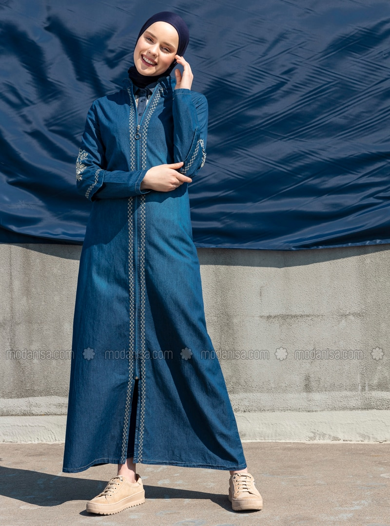 Navy Blue - Ethnic - Unlined - Crew neck - Denim - Abaya