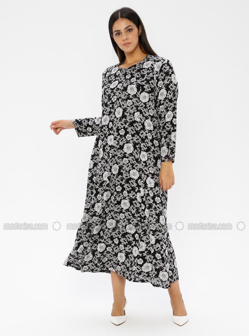 Noir Multicolore Tissu Non Double Col Rond Viscose Robe Grande Taille