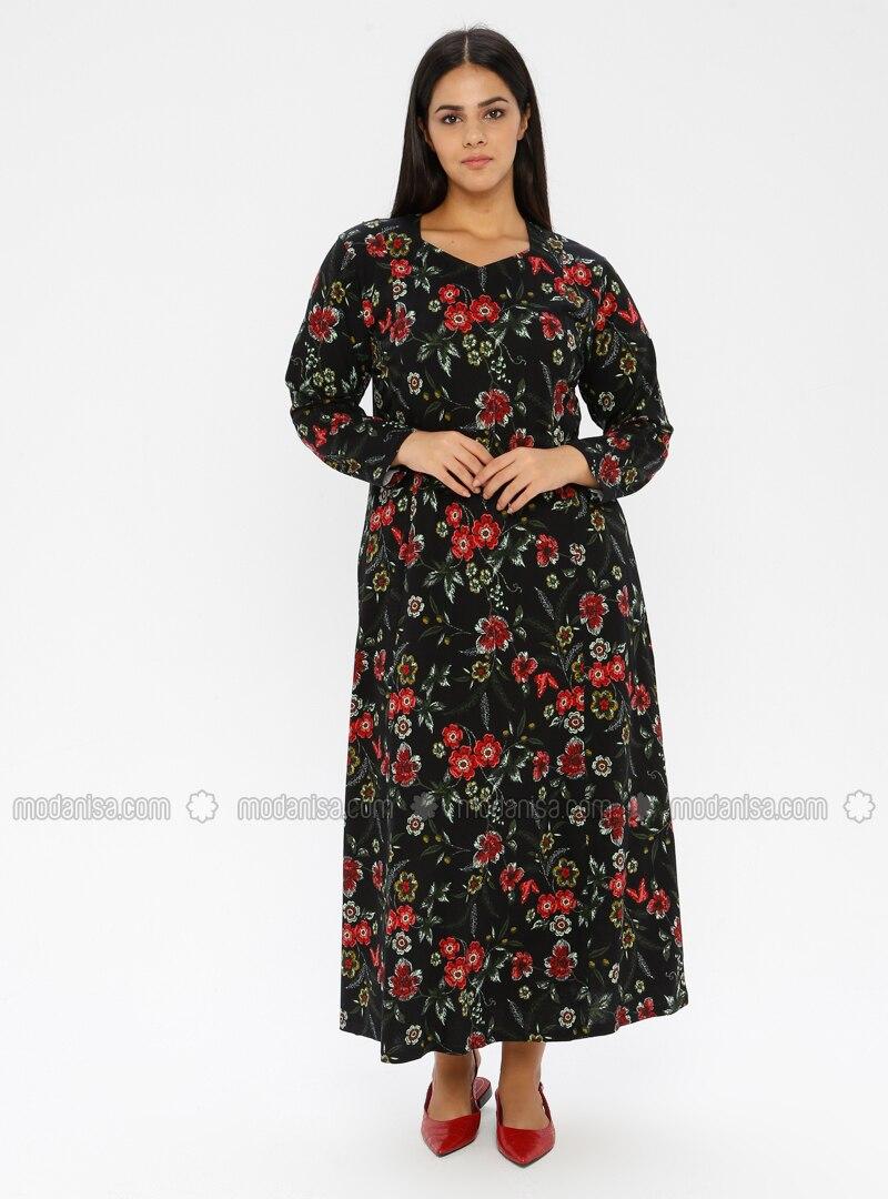 Black - Multi - Unlined - V neck Collar - Viscose - Plus Size Dress