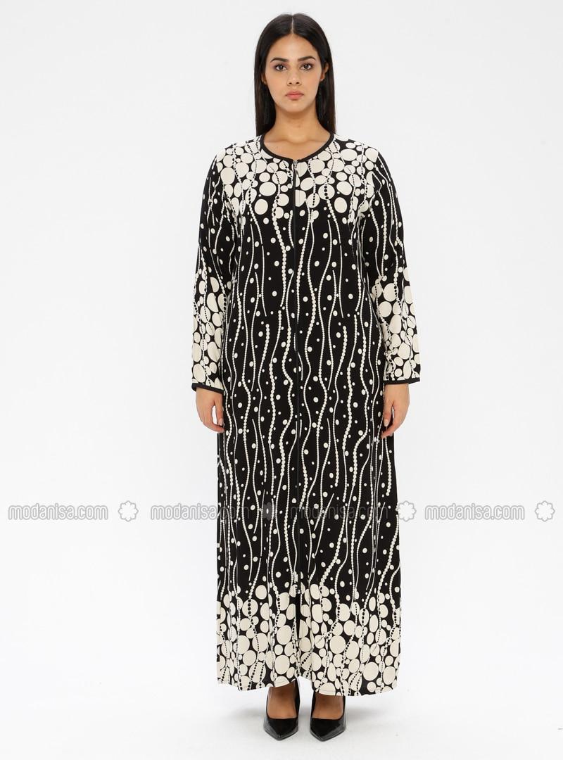 Black - Multi - Unlined - Crew neck - Viscose - Plus Size Dress