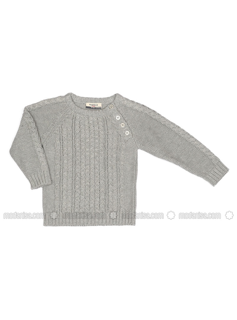 Crew neck - Acrylic - Wool Blend - Unlined - Gray - Boys` Pullover
