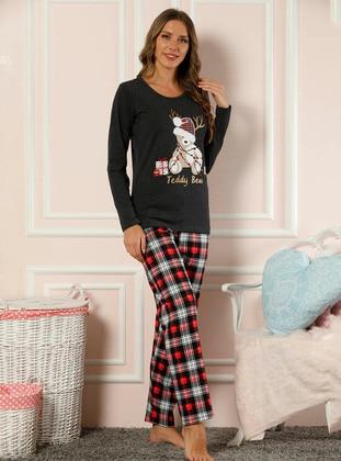 Black - Crew neck - Checkered -  - Pyjama