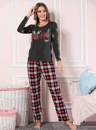 Anthracite - Crew neck - Checkered -  - Pyjama