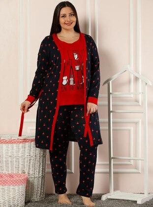 Red - Navy Blue -  - Morning Robe
